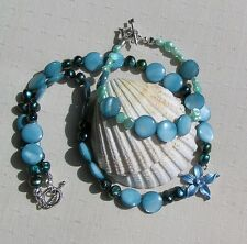 "Necklace & Bracelet Set - Freshwater Pearl and Mother of Pearl ""Alpine Skies"""