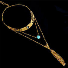 Vintage Style Women Antique Silver Gold Turquoise Chain Tassel Necklace Jewelry