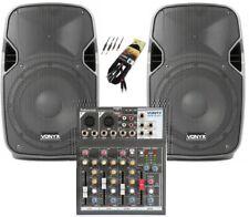 IMPIANTO AUDIO COMPLETO AMPLIFICATO ATTIVO 2 casse + 1 mixer + 1 cavo 3 mt. DJ
