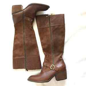 Born Aliza Rust Suede and Leather Knee High Boots