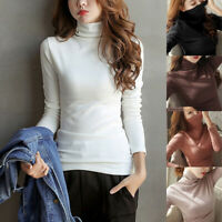 Womens Long Sleeve Turtleneck T-Shirt Slim Fit Pullover High Tops Casual Sweater