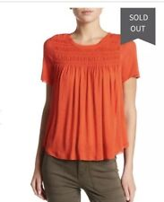 NWT Free People Dani Tee T Shirt Smocked chest Top In Sheila Red Size XS $68