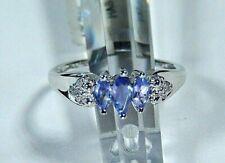 *NEW* Pretty 10k White Gold Tanzanite & Diamond Ring Size 7.75
