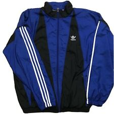VTG 90s Adidas Track Jacket Large Blue/Black Retro Full Zip Windbreaker Trefoil
