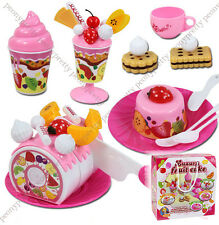 Quality cutting cake fruit desert kids pretend play toy birthday xmas party gift