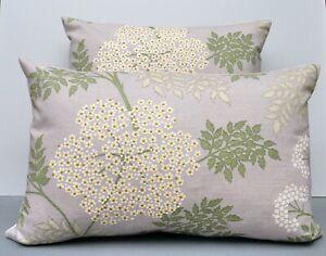 Sanderson Designer Cushion Cover 'Cow Parsley' Amethyst Back in Pale Grey Velvet
