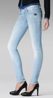 "G-Star Raw Lynn Mid Waist Skinny Jeans Ladies Light Aged W 32"" L 32"" *REF69-12"