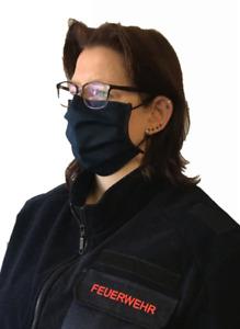 2er Set Mund Nasen Maske waschbar 60 Grad dunkelblau schwarz (1 Set - 2 Stück)