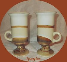 Beautiful  Vintage Tall Espresso Stoneware Cups low Handle