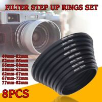 Filter Step Up Rings Set 49-52-55-58-62-67-72-77-82mm 8pcs 49mm-82mm As Hood New