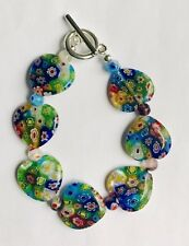Stunning  Rainbow Millefiori Glass Heart Bracelet Version 2