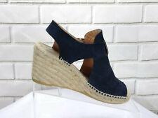 Bettye Muller Espadrille Sandals Wedge Platform Shoes Blue Suede Shoes Size 37 7