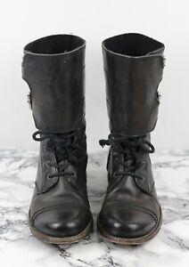 ALL SAINTS Womens Black Leather DAMISI Military Combat Boots, Size EU 38 / UK 5
