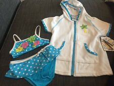 New Girls Swimsuit 3 Piece Set Blue Polka Dot Bikini, 2T Hooded Coverup