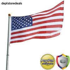 Telescoping Flag Pole Kit 25Ft Rustproof Aluminum Patriot Fly 2 Flags Same Time