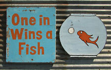 VINTAGE CARNIVAL GAME WIN GOLD FISH PING PONG BALL SIGN MIDWAY ARCADE duck pond