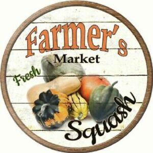 "FARMERS MARKET SQUASH 12"" ROUND LIGHTWEIGHT METAL WALL SIGN DECOR RUSTIC"