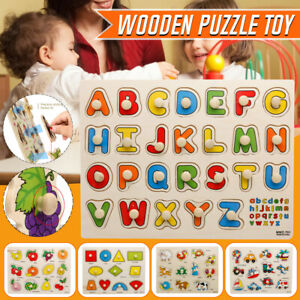 Baby Toddler Wooden Puzzle Alphabet Letters Animal Fruit Kids Learning Toy Gift