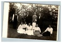 Vintage 1910's RPPC Postcard - Group Photo in the Country Small Cute Girl