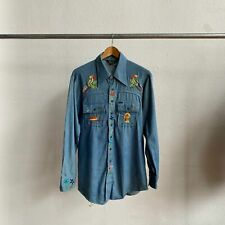 Vintage 70's Embroidered Mushroom Car Lee Chambray Size Large