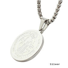 Beautiful Stainless Steel Patron Staint St.Benedict Medal Necklace S size GRO