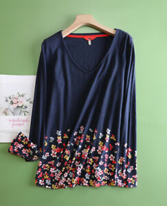 New ex JOULES UK Size 20 Navy Floral  Border Harbour Swing Jersey Top