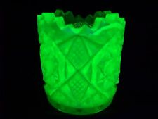 VASELINE GREEN URANIUM GLASS SAW TOOTH PATTERN TOOTHPICK HOLDER  (( id156722