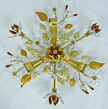 PLAFONIERA COUNTRY CON 3 LUCI LED CRISTALLI ORO ANTICO MADE IN ITALY ART.L11