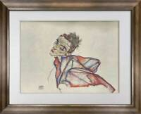 "Egon SCHIELE Lithograph SIGNED ""Self Portrait""  Ltd. Edition  w/FRAME"