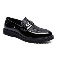 Mens Fashion Glitter Sequins Shoes Slip On Loafers Modern Patent Leather Shoes