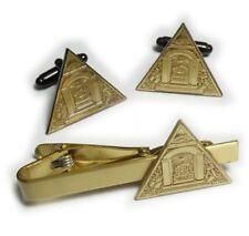PYRAMID ALL SEEING EYE Freemason Master Masonic Cufflinks Cuff Links Tie Bar Set