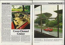 1987 LOTUS ESPRIT Road Test article, Lotus Esprit Turbo HC from British auto mag