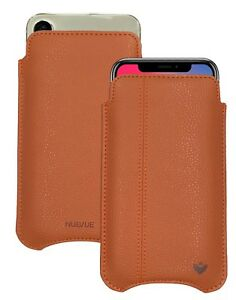 For Apple iPhone X/Xs Case Tan Faux Leather NueVue Screen Cleaning Sanitizing