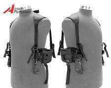 Tactical Military Left & Right Pistol Hand Gun DOUBLE Shoulder Holster Bag Black