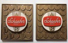 """Pair Vintage Schaefer Beer Signs 9"""" X 7.5"""""""