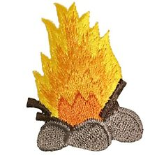 Campfire Flames Applique Patch - Stones, Kindling, Firewood (Iron on)