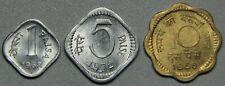 1968,1972 India 1-5-10 Paisa 3 Coin BU Set-Lot 2