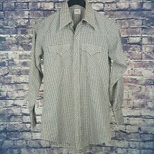 LEE Mens White Brown Gingham Pearl Snap Western Shirt 15-33 Vintage USA