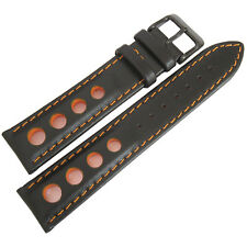 20mm EULIT German Black Orange Racing Rally PVD BUCKLE Leather Watch Band Strap