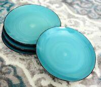 "Royal Norfolk TURQUOISE SWIRL BROWN TRIM Stoneware Dinner Plates Set of 4 ~10.5"""