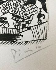 """SIGNED Picasso print, small lithograph from Le Gout du Bonheur, """"4.10.64."""""""