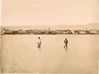 Egypte, Panorama de Suez  Vintage albumen print,  Tirage albuminé  21x27