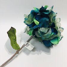 "Vickerman 22"" Teal Glitter Sheer Hydrangea Decor  Wedding Flower Stem Blue Green"