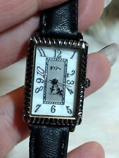 '1928' WOMENS SILVERTONE WATCH - BLACK LEATHER BAND - MOP FACE
