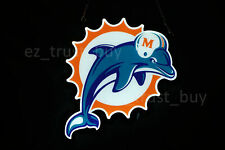 "New Miami Dolphins Beer Led 2D Neon Sign 14"" Light Lamp Bar Vivid Bright Decor"