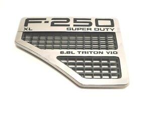 2008-2010 Ford F-250 DRIVER Fender Emblem Vent Chrome Black XL Super Duty LEFT