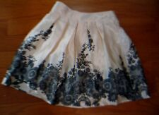 """2Hip by Wrapper Skirt 26"""" Waist Size Ivory Black Lace Motif Lined Pleated"""