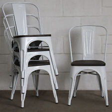 Retro Tolix Style Metal Dining Chair Industrial Vintage Bistro Cafe Seat Kitchen Grey 4