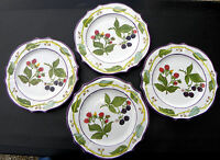 "SUMMER BERRIES by MAJILLY OF ITALY ~ MAJOLICA  Lot of 4 ~ 10 1/2""  Dinner Plates"