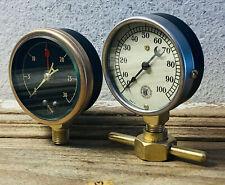 2 Vintage Brass Pressure Gauge Lot, Beveled Glass, Antique, Steampunk